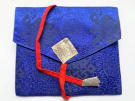 Tibet Buch Hülle - eBook Tasche - Endloser Knoten - blau - Nepal - Bild vergrößern