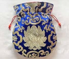 Mala Beutel - Schmuck Tasche aus Lotus Brokat - blau - Nepal #1 - Bild vergrößern