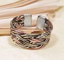 geflochtener RING - 3 Metalle - Kupfer Messing Metall - Nepal - Produktbild