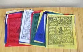 25 Tibetische Gebetsfahnen - Buddha Windpferd Tara - Baumwolle - NEPAL - Bild vergrößern