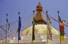 Tibetische GEBETSFAHNE - vertikal - für Fahnenmast - Größe M - Baumwolle - Bild vergrößern