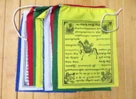 Buddhistische Gebetsfahnen - Windpferd Tara Glückssymbole Guru Rinpoche - Nepal - Bild vergrößern