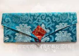 Pecha - Lotus Brokat Tasche für Buddhistische Texte - türkis - NEPAL Tibet - Bild vergrößern