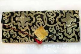 Pecha - Lotus Brokat Tasche für Buddhistische Texte - schwarz - NEPAL Tibet - Bild vergrößern