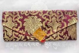 Pecha - Lotus Brokat Tasche für Buddhistische Texte - violett - NEPAL Tibet - Bild vergrößern