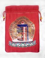 Brokat BEUTEL - Schmuck Tasche - Mala bag - Kalachakra Symbol - rot - Nepal