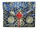 Tibet Buch Hülle XL - Laptop Tasche - Lotus Brokat - blau - Nepal