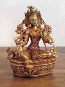 Grüne Tara - Green Tara Statue aus Kupfer - Gold plated - Nepal