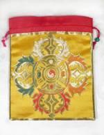 Brokat BEUTEL - Schmuck Tasche - Mala bag - Doppel Dorje - gelb - Nepal