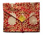 Tibet Buch Hülle XL - Laptop Tasche - Lotus Brokat - rot - Nepal