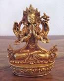 Buddha Avalokiteshvara - Chenrezig - Statue aus Kupfer - Gold plated - Nepal