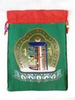 Brokat BEUTEL - Schmuck Tasche - Mala bag - Kalachakra Symbol - grün - Nepal
