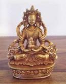 Buddha Amitayus - Statue aus Kupfer - Gold plated - Nepal