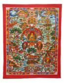 Thangka - Buddha`s Leben - Buddha Story - handgemalt - Gross 55x43cm - Nepal