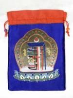 Brokat BEUTEL - Schmuck Tasche - Mala bag - Kalachakra Symbol - blau - Nepal