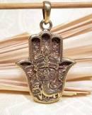 Anhänger Hand der Fatima mit Ganesha - 5 Metalle Amulett - Handarbeit Nepal