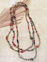 Boho Halskette - Hippie Style - 165cm lang - bunter Perlen Mix - Handarbeit Nepal