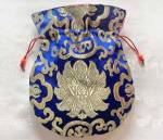 Mala Beutel - Schmuck Tasche aus Lotus Brokat - blau - Nepal #1