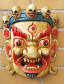 HOLZ Maske Mahakala - der Beschützer - Handgeschnitzt - beige - NEPAL