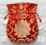 Mala Beutel - Schmuck Tasche aus Lotus Brokat - rot - Nepal #1