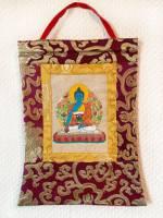 Stoff Thangka - Medizin Buddha - Lokta Papier - Brokatrahmen - Nepal