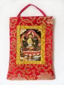 Stoff Thangka - Buddha Manjushri im Brokatrahmen - Nepal