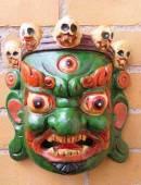 HOLZ Maske Mahakala - der Beschützer - Handgeschnitzt - grün - NEPAL
