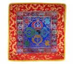 Tibetische Decke - Altardecke - Doppel Dorje Vajra - Lotus Brokat  - Lotos - blau - Nepal