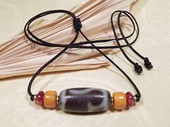 SHERPA Halskette DZI Perle - Ruyi Wunsch ACHAT - Tibetische Glücksperle - NEPAL