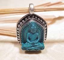 Buddha Anhänger - Türkis in Silberfassung - Amitabha - Nepal - Tibet