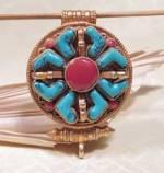 Tibet Box Anhänger Gau - Doppel Dorje - Türkis Koralle - Silber vergoldet - NEPAL #1