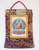 Stoff Thangka - Buddha Shakyamuni Gautama - Lokta Papier - Brokatrahmen - Nepal