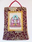 Stoff Thangka - Buddha Chenrezig - Lokta Papier - Brokatrahmen - Nepal