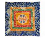 Tibetische Brokatdecke - Rad der Lehre Dharma Chakra - orange - Nepal