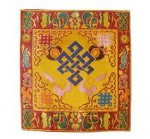 Altar Decke aus BROKAT - Endloser Knoten - gelb - NEPAL