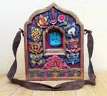 Holz Schrein XL - Buddha Vajrasattva - 8 Glückssymbole - handgeschnitzt - Nepal