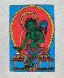 Grußkarte mit Umschlag - Grüne Tara - Handgeschöpftes Lokta Papier - Nepal