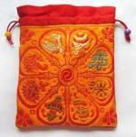 Schmuck Tasche aus Brokat - Mala Beutel - 8 Glückssymbole - orange - Nepal