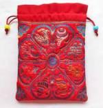 Schmuck Tasche aus Brokat - Mala Beutel - 8 Glückssymbole - rot - Nepal