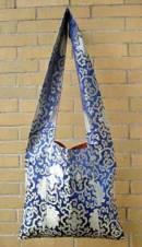 Tibetische Schulter-Tasche aus Lotus Brokat - Umhängetasche - blau