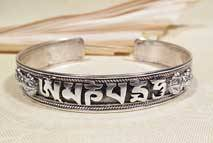 Tibet Mantra Armreifen - filigran - 925er Sterling Silber - Drachen Gravur - Nepal