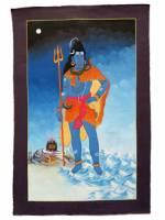 Thangka - Hindu Gott Shiva - Trisul Dreizack Om Symbol - handgemalt - Nepal