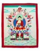 Thangka Buddha Shakyamuni auf Schneelöwenthron - handgemalt - Nepal