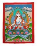 Thangka Weisse Tara - Dolma - White Tara - handgemalt - Nepal
