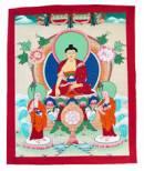 Thangka Buddha Shakyamuni auf Schneelöwenthron - handgemalt - Nepal #1