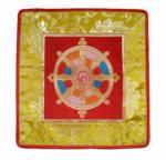 Tibetische Decke - Rad der Lehre - Dharmachakra - Lotus Brokat  - Lotos - Nepal
