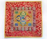 Tibetische Decke - Altardecke - Doppel Dorje Vajra - Lotus Brokat  - Lotos - gelb - Nepal