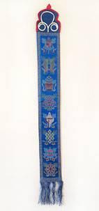 Tibetischer Wandbehang mit den 8 Tibetischen Glückssymbolen - 100% Seide - Nepal