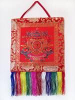 Brokat Wandbehang - Tibetische Glückssymbole Ashtamangala - Nepal
