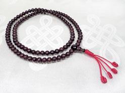 Rosenholz Mala – Buddhistische Gebetskette – verstellbar - roter Schützerknoten - Nepal